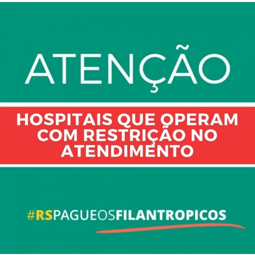Hospitais que operam com restrições e Composição da Dívida do Governo com Instituições Filantrópicas